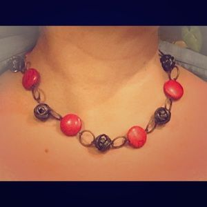 Jewelry - Red glass bead necklace. 17 ''long